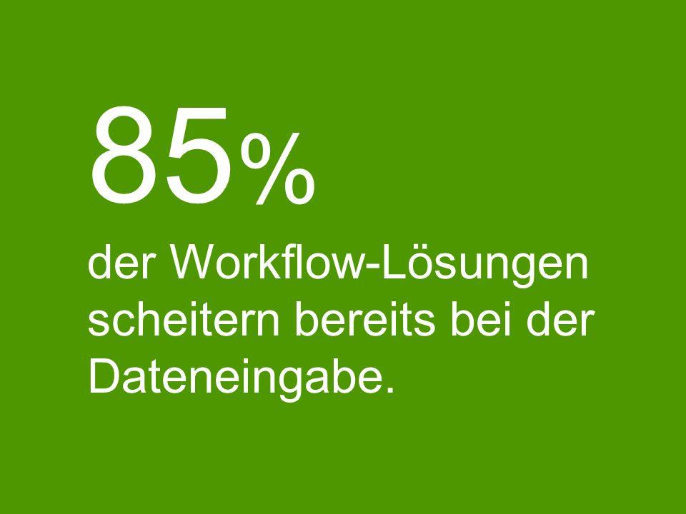 85 % der Workflow-Lösungen scheitern bereits bei der Dateneingabe.