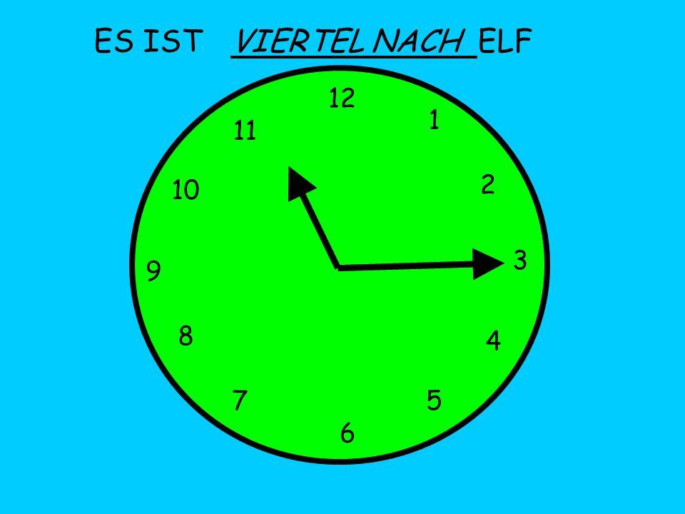 ES IST 12 1 5 4 9 3 6 10 11 2 7 8 VIERTEL NACH ELF