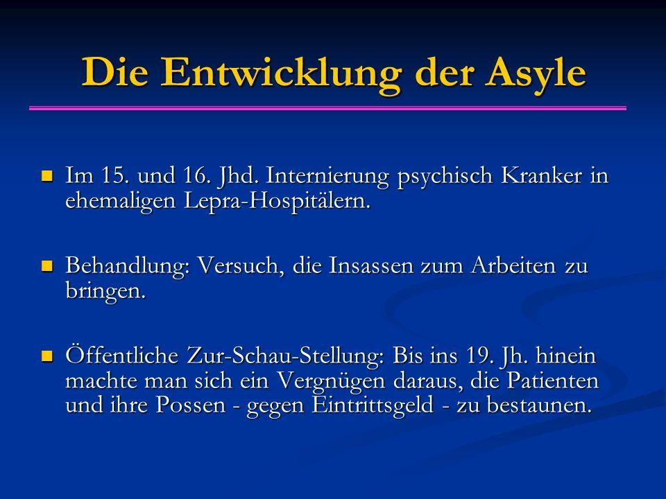 Die Entwicklung der Asyle Im 15. und 16. Jhd.