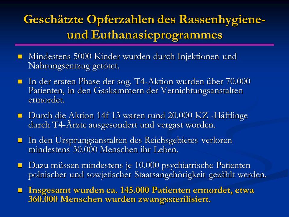 Geschätzte Opferzahlen des Rassenhygiene- und Euthanasieprogrammes Mindestens 5000 Kinder wurden durch Injektionen und Nahrungsentzug getötet.