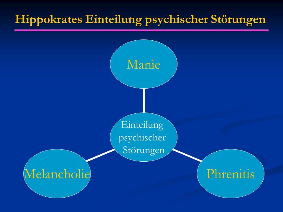 Hippokrates Einteilung psychischer Störungen Einteilung psychischer Störungen ManiePhrenitisMelancholie