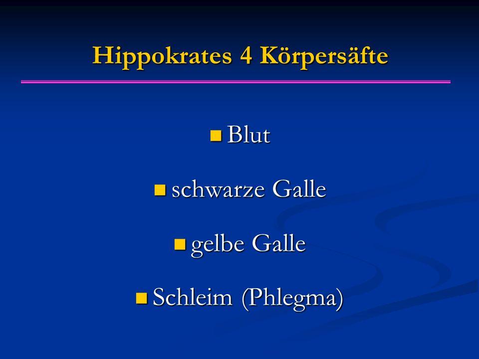 Hippokrates 4 Körpersäfte Blut Blut schwarze Galle schwarze Galle gelbe Galle gelbe Galle Schleim (Phlegma) Schleim (Phlegma)