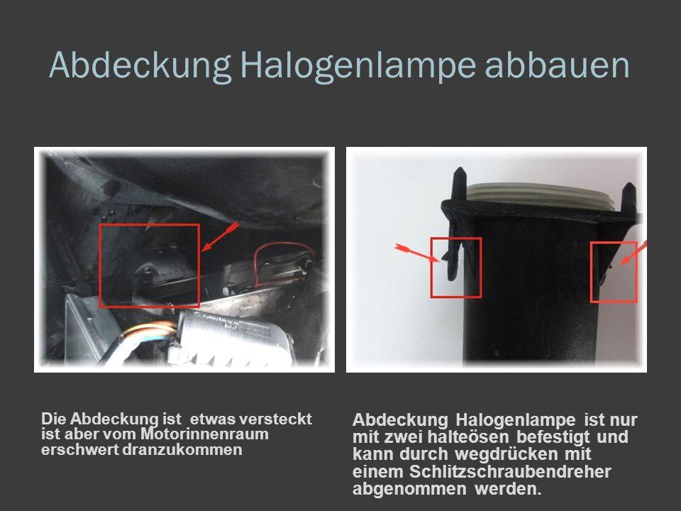 Abdeckung Halogenlampe abbauen Die Abdeckung ist etwas versteckt ist aber vom Motorinnenraum erschwert dranzukommen Abdeckung Halogenlampe ist nur mit zwei halteösen befestigt und kann durch wegdrücken mit einem Schlitzschraubendreher abgenommen werden.