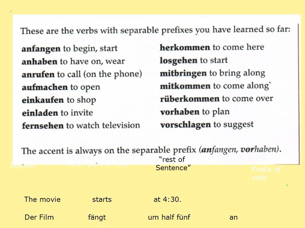"Subject ""verb"" part of verb ""rest of Sentence"" Prefix of verb The movie starts at 4:30. Der Film fängt um half fünf an"