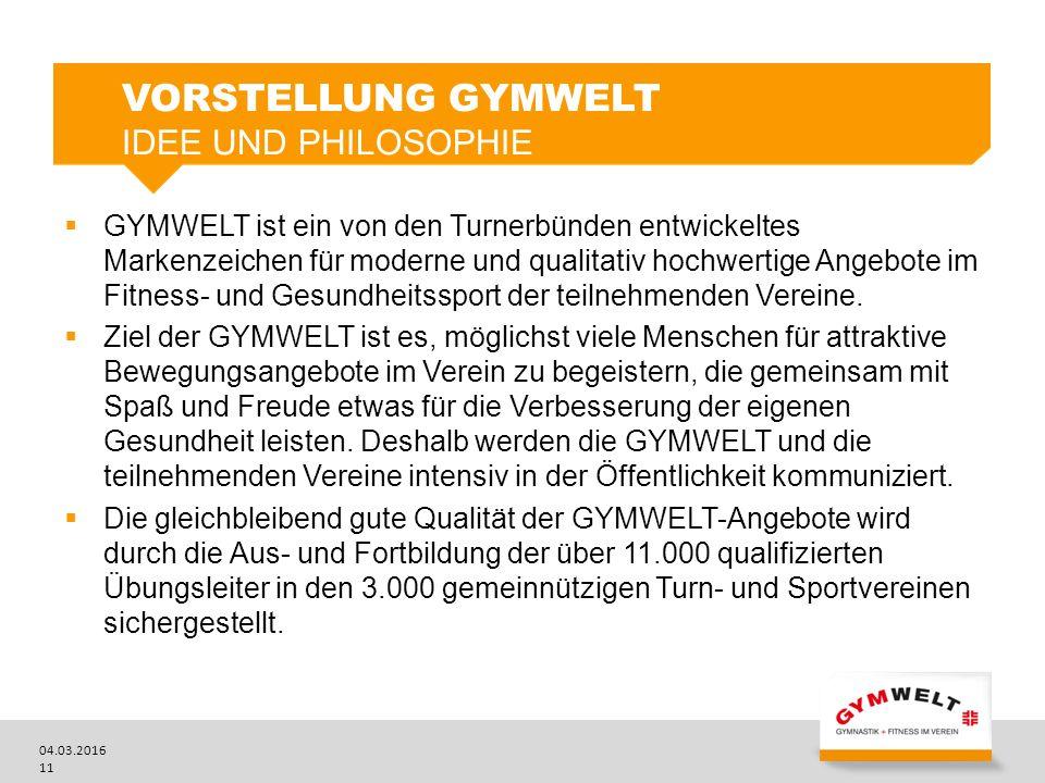 04.03.2016 11  GYMWELT ist ein von den Turnerbünden entwickeltes Markenzeichen für moderne und qualitativ hochwertige Angebote im Fitness- und Gesundheitssport der teilnehmenden Vereine.