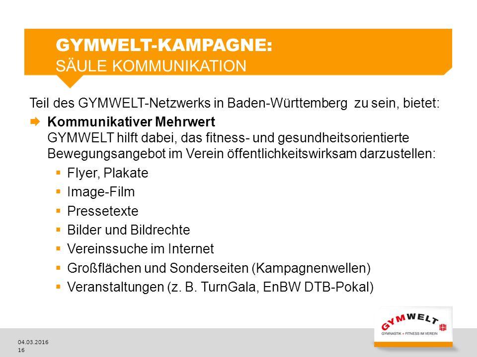 04.03.2016 16 GYMWELT-KAMPAGNE: SÄULE KOMMUNIKATION Teil des GYMWELT-Netzwerks in Baden-Württemberg zu sein, bietet:  Kommunikativer Mehrwert GYMWELT