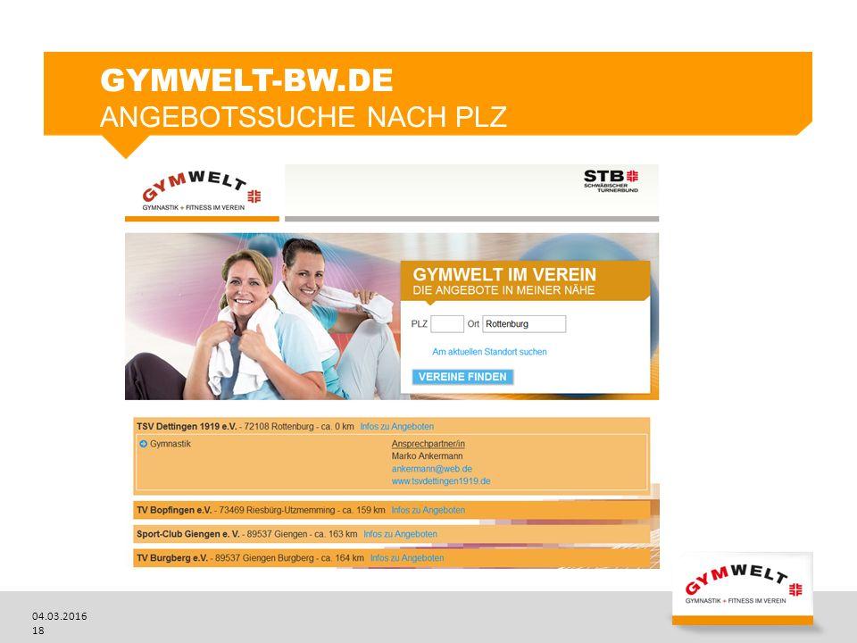 04.03.2016 18 GYMWELT-BW.DE ANGEBOTSSUCHE NACH PLZ