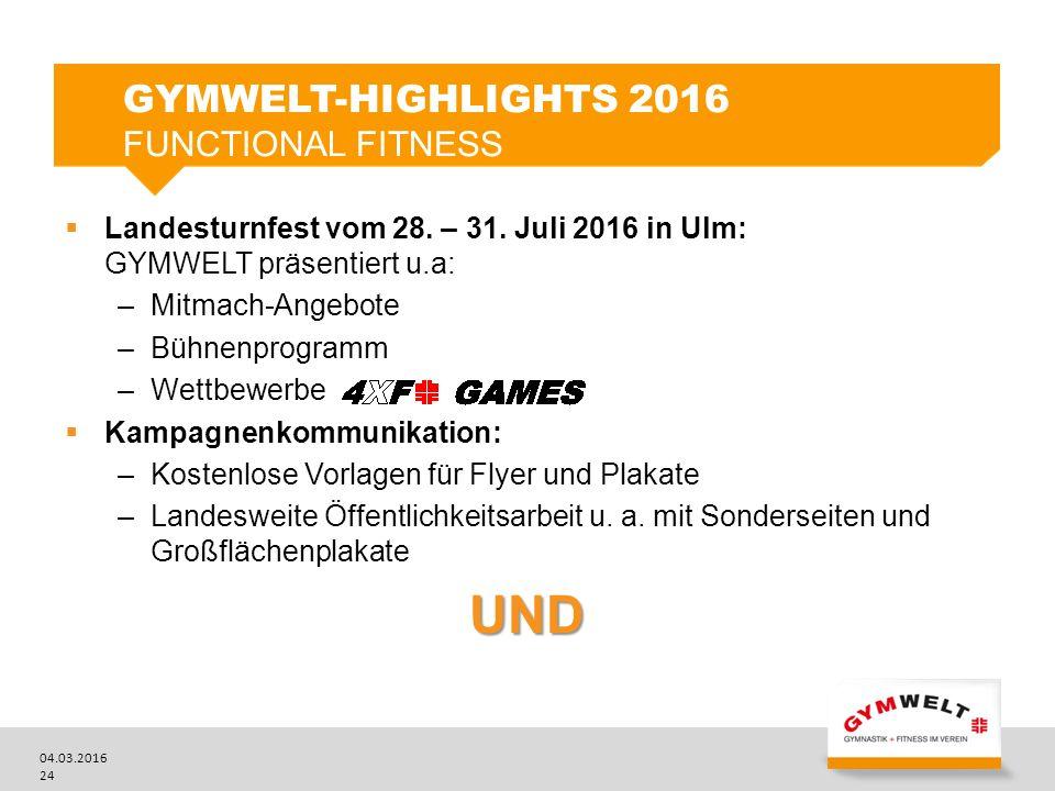 04.03.2016 24  Landesturnfest vom 28. – 31. Juli 2016 in Ulm: GYMWELT präsentiert u.a: –Mitmach-Angebote –Bühnenprogramm –Wettbewerbe  Kampagnenkomm