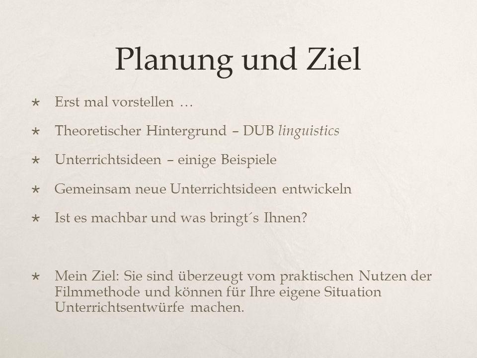 Planung und Ziel  Erst mal vorstellen …  Theoretischer Hintergrund – DUB linguistics  Unterrichtsideen – einige Beispiele  Gemeinsam neue Unterrichtsideen entwickeln  Ist es machbar und was bringt´s Ihnen.