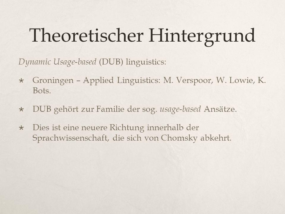 Theoretischer Hintergrund Dynamic Usage-based (DUB) linguistics:  Groningen – Applied Linguistics: M.