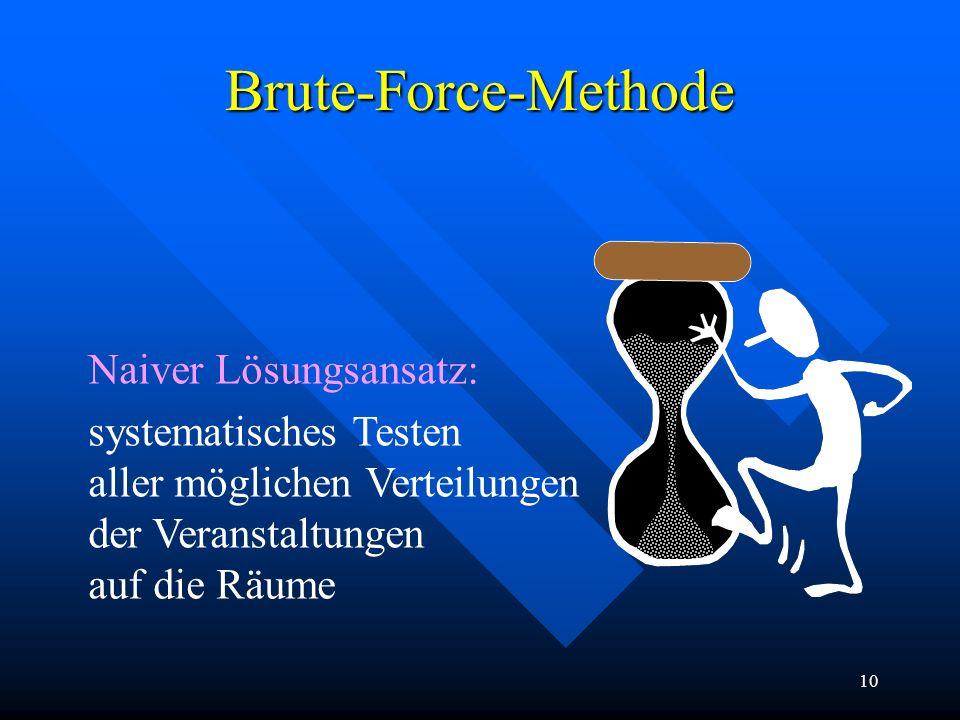 10 Brute-Force-Methode Naiver Lösungsansatz: systematisches Testen aller möglichen Verteilungen der Veranstaltungen auf die Räume