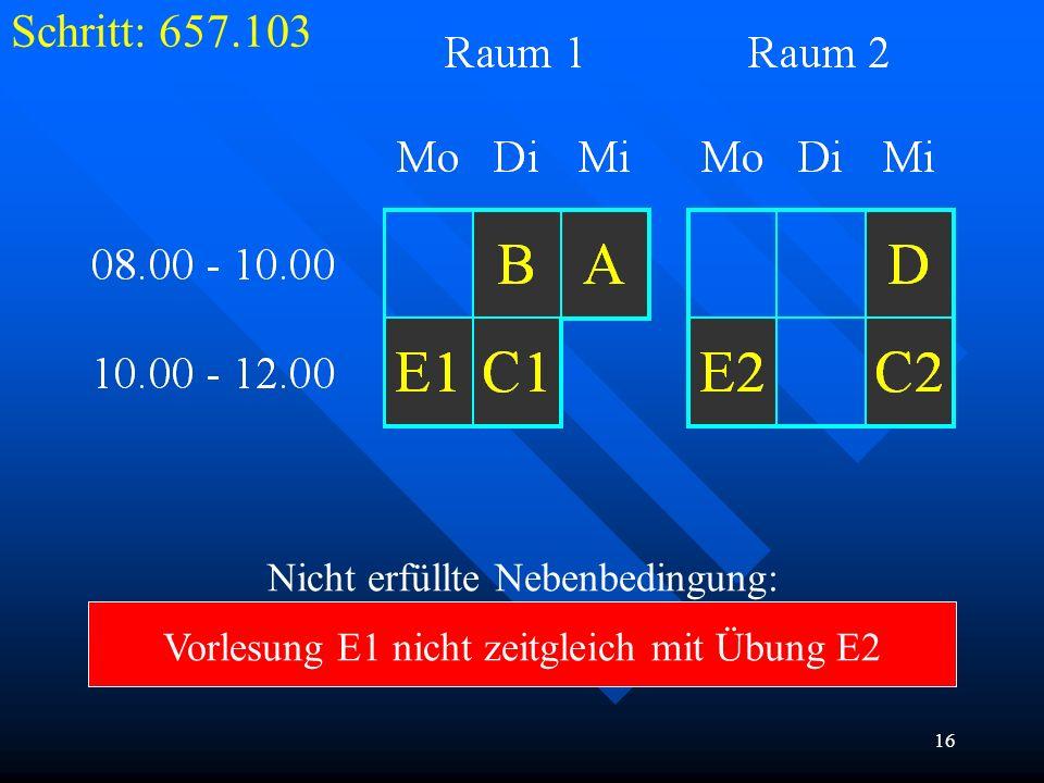 16 Schritt: 657.103 Nicht erfüllte Nebenbedingung: Vorlesung E1 nicht zeitgleich mit Übung E2