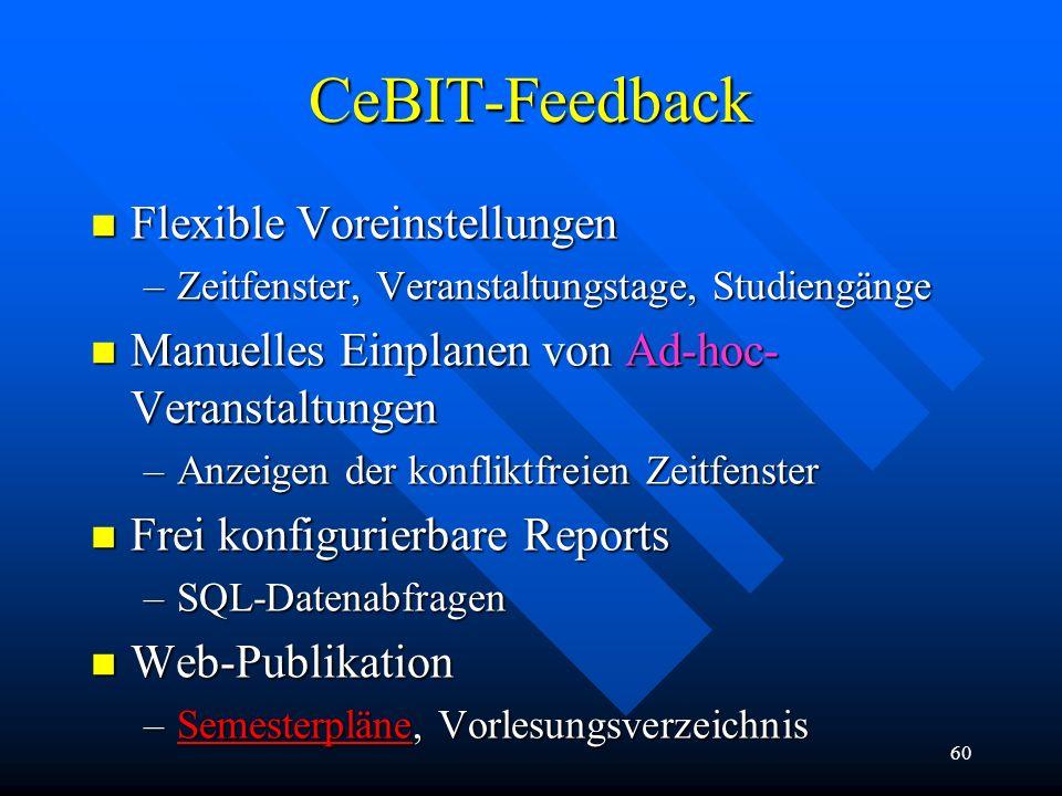60 CeBIT-Feedback n Flexible Voreinstellungen –Zeitfenster, Veranstaltungstage, Studiengänge n Manuelles Einplanen von Ad-hoc- Veranstaltungen –Anzeig
