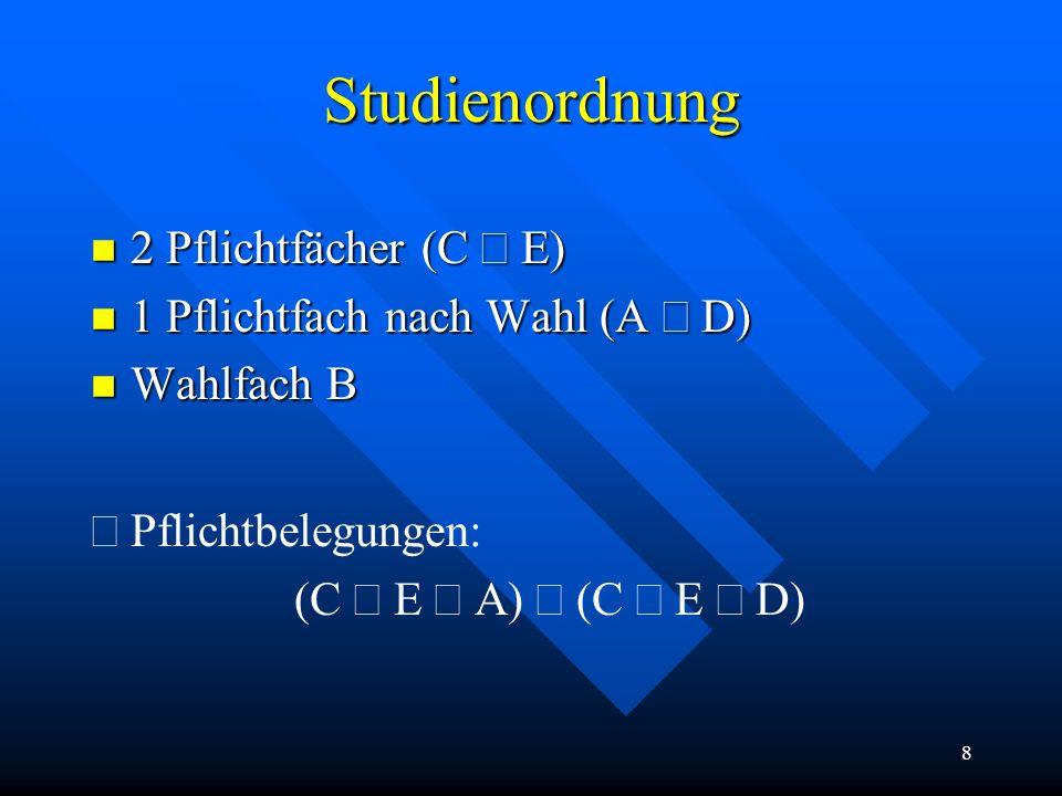 8 Studienordnung 2 Pflichtfächer (C  E) 2 Pflichtfächer (C  E) 1 Pflichtfach nach Wahl (A  D) 1 Pflichtfach nach Wahl (A  D) n Wahlfach B  Pflichtbelegungen: (C   )  (C  E  D)