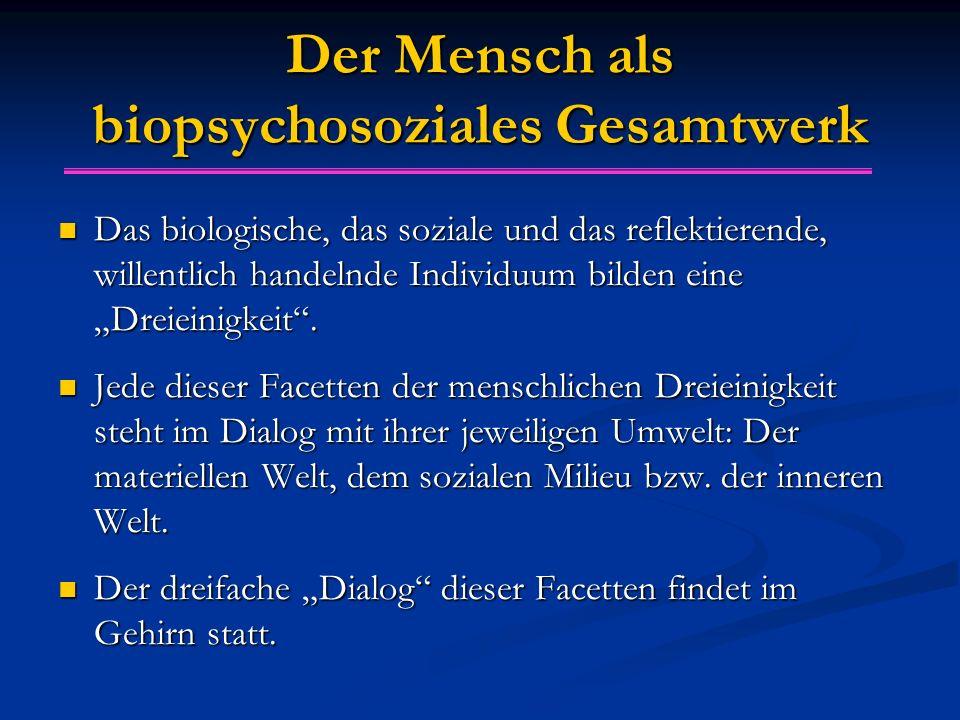 """Der Mensch als biopsychosoziales Gesamtwerk Das biologische, das soziale und das reflektierende, willentlich handelnde Individuum bilden eine """"Dreiein"""