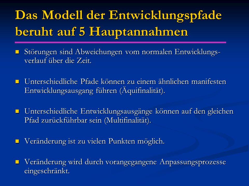 Das Modell der Entwicklungspfade beruht auf 5 Hauptannahmen Störungen sind Abweichungen vom normalen Entwicklungs- verlauf über die Zeit. Störungen si