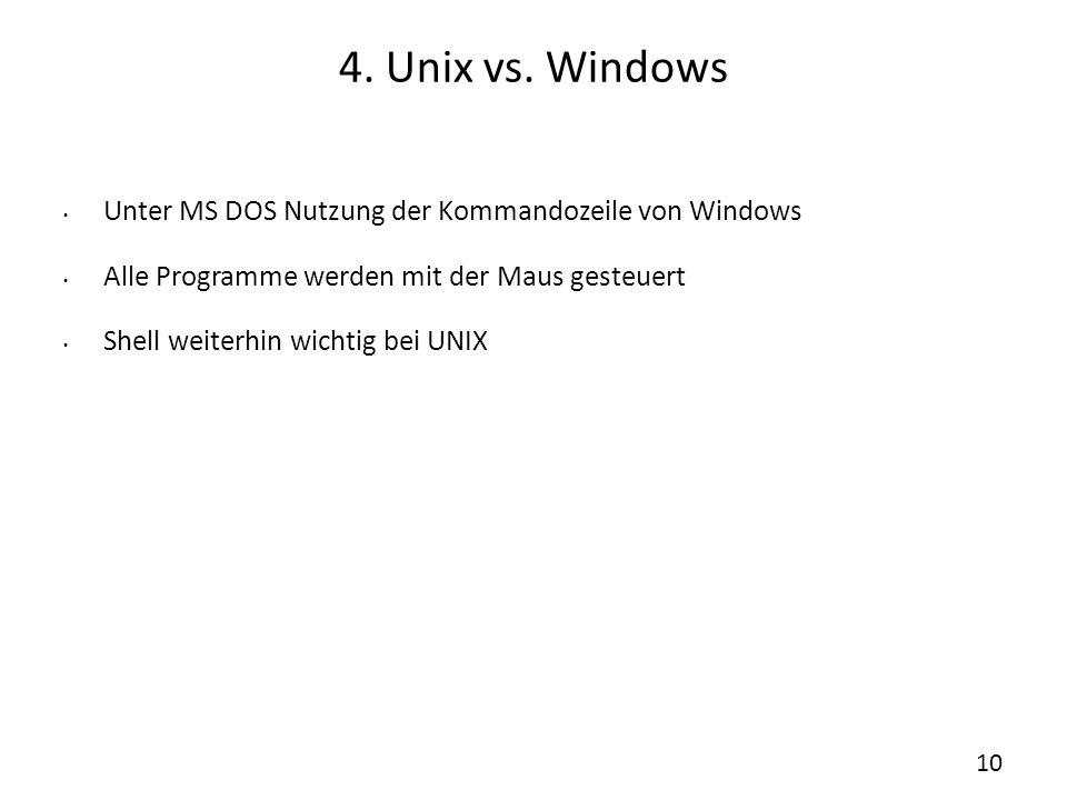 4. Unix vs. Windows Unter MS DOS Nutzung der Kommandozeile von Windows Alle Programme werden mit der Maus gesteuert Shell weiterhin wichtig bei UNIX 1