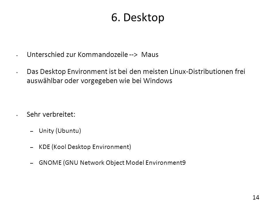 6. Desktop Unterschied zur Kommandozeile --> Maus Das Desktop Environment ist bei den meisten Linux-Distributionen frei auswählbar oder vorgegeben wie