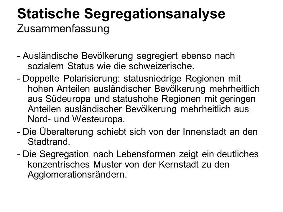 Statische Segregationsanalyse Zusammenfassung - Ausländische Bevölkerung segregiert ebenso nach sozialem Status wie die schweizerische. - Doppelte Pol