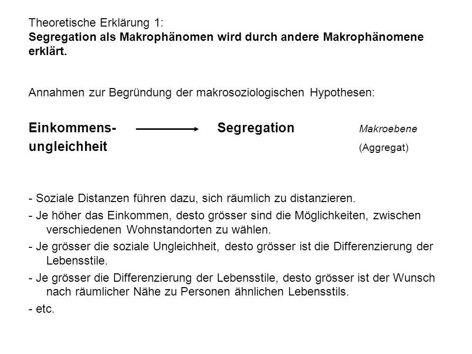 Theoretische Erklärung 1: Segregation als Makrophänomen wird durch andere Makrophänomene erklärt. Annahmen zur Begründung der makrosoziologischen Hypo