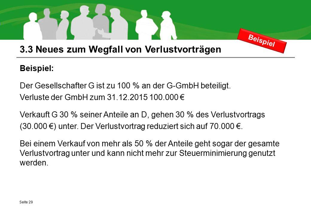 3.3 Neues zum Wegfall von Verlustvorträgen Beispiel: Der Gesellschafter G ist zu 100 % an der G-GmbH beteiligt. Verluste der GmbH zum 31.12.2015 100.0