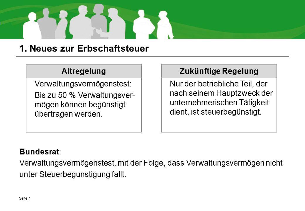 1. Neues zur Erbschaftsteuer Bundesrat: Verwaltungsvermögenstest, mit der Folge, dass Verwaltungsvermögen nicht unter Steuerbegünstigung fällt. Seite