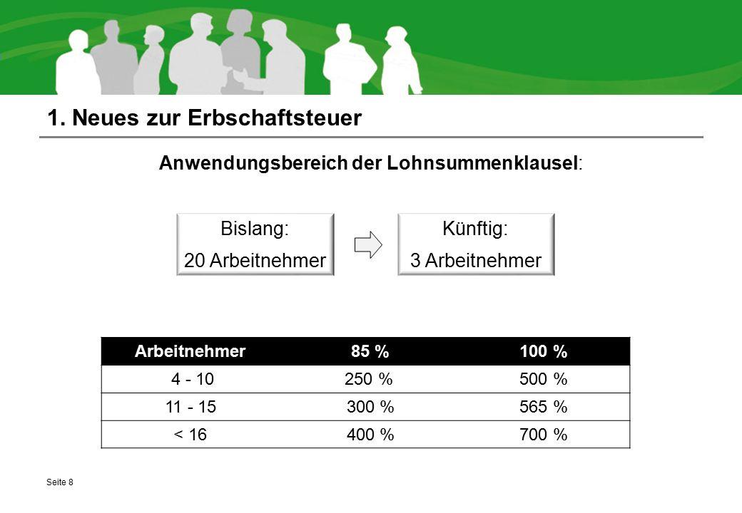 1. Neues zur Erbschaftsteuer Anwendungsbereich der Lohnsummenklausel: Seite 8 Künftig: 3 Arbeitnehmer Bislang: 20 Arbeitnehmer Arbeitnehmer 85 %100 %