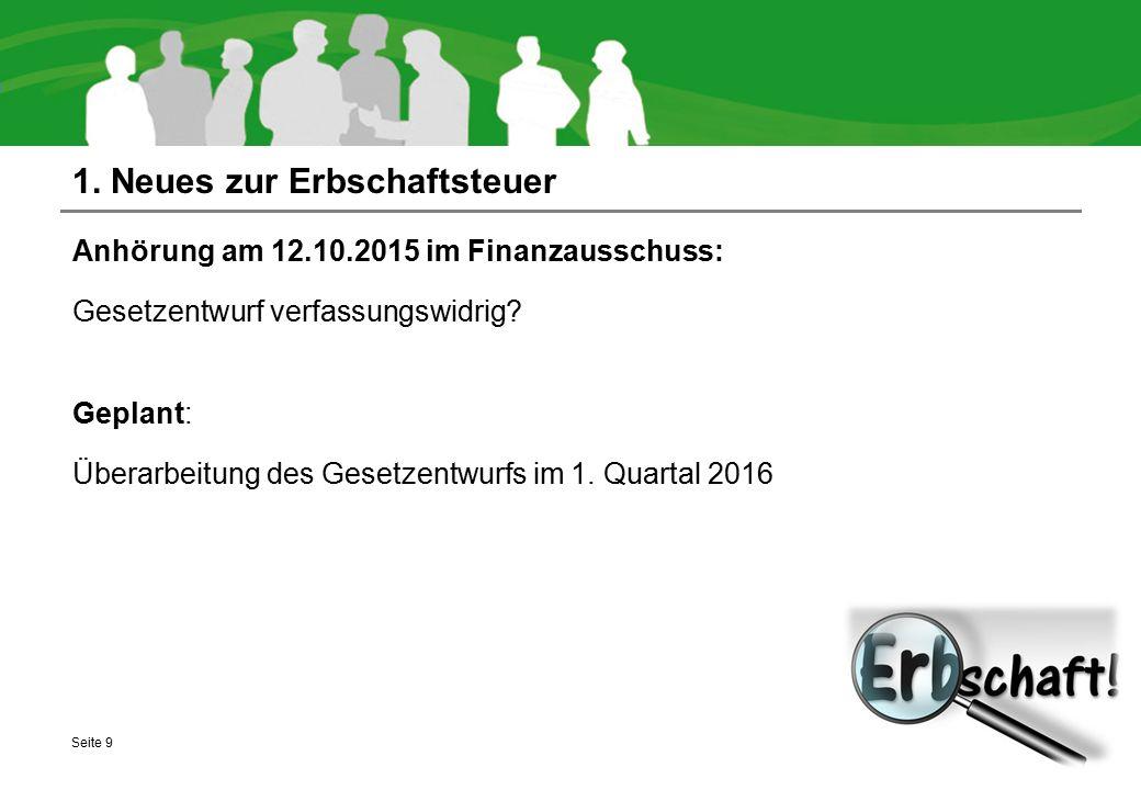 1. Neues zur Erbschaftsteuer Anhörung am 12.10.2015 im Finanzausschuss: Gesetzentwurf verfassungswidrig? Geplant: Überarbeitung des Gesetzentwurfs im