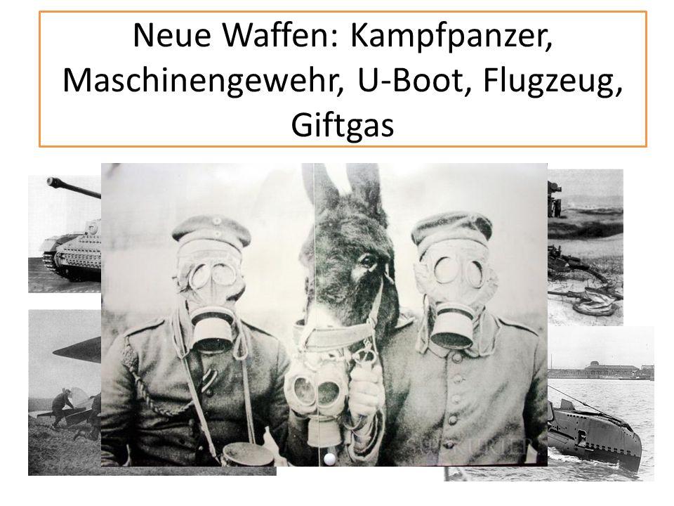 Neue Waffen: Kampfpanzer, Maschinengewehr, U-Boot, Flugzeug, Giftgas