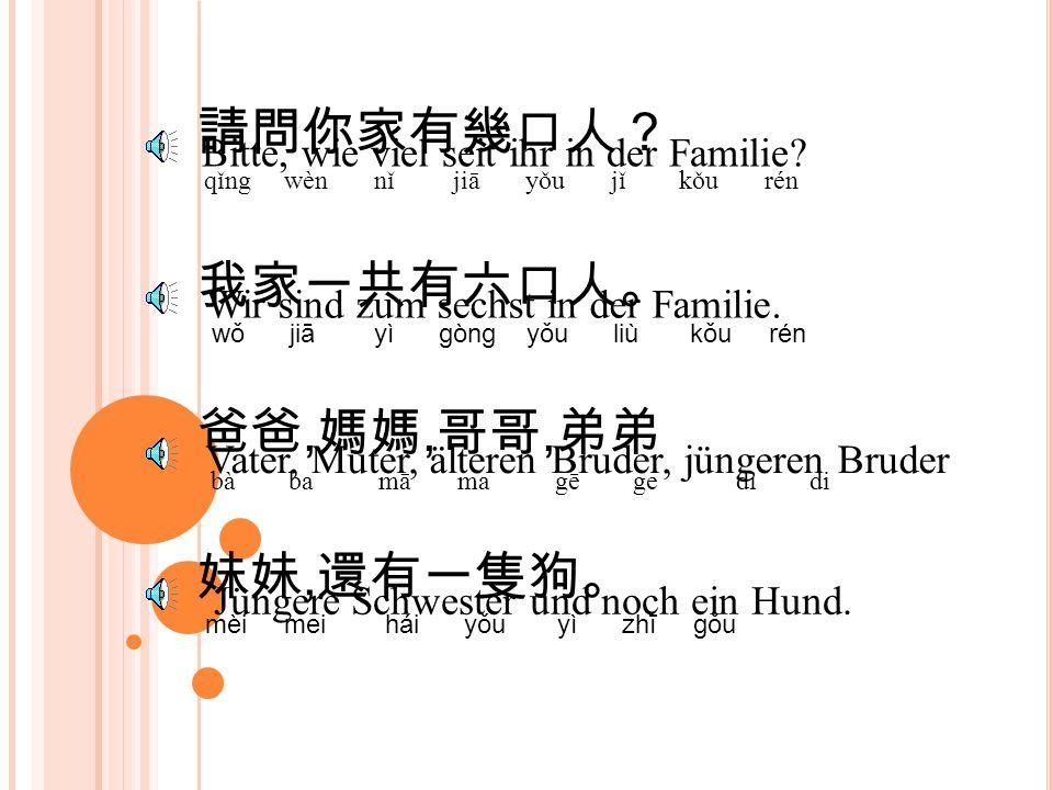 請問你家有幾口人? qǐng wèn nǐ jiā yǒu jǐ kǒu rén Bitte, wie viel seit ihr in der Familie.