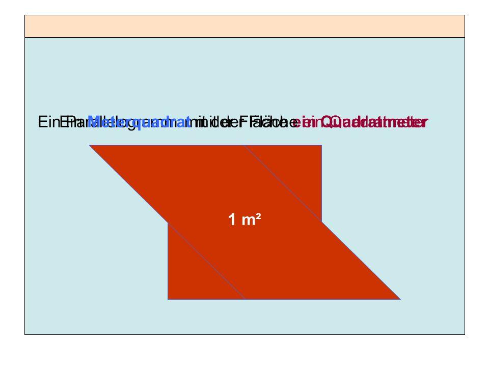 Das ist ein Meterquadrat, denn jede Seite ist 1 Meter lang.