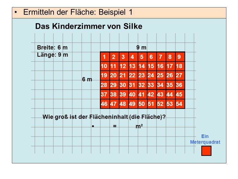 Ermitteln der Fläche: Beispiel 1 Ein Meterquadrat 9 m 6 m Breite: 6 m Länge: 9 m Wie groß ist der Flächeninhalt (die Fläche).