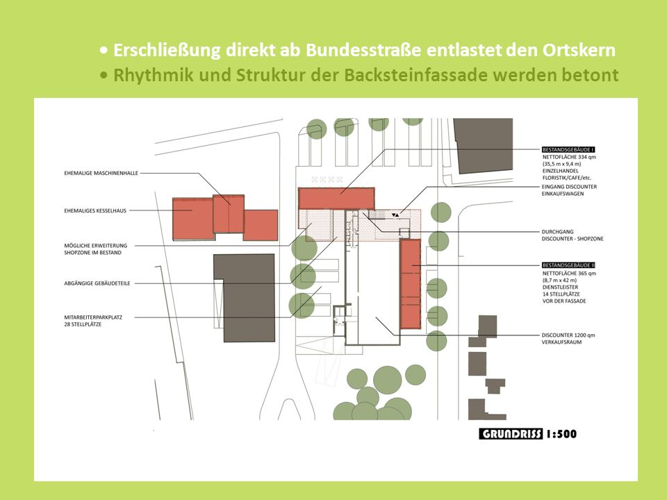 Erschließung direkt ab Bundesstraße entlastet den Ortskern Rhythmik und Struktur der Backsteinfassade werden betont