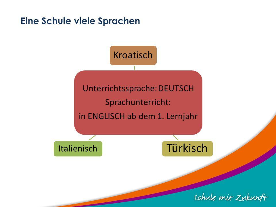 Eine Schule viele Sprachen Unterrichtssprache: DEUTSCH Sprachunterricht: in ENGLISCH ab dem 1.