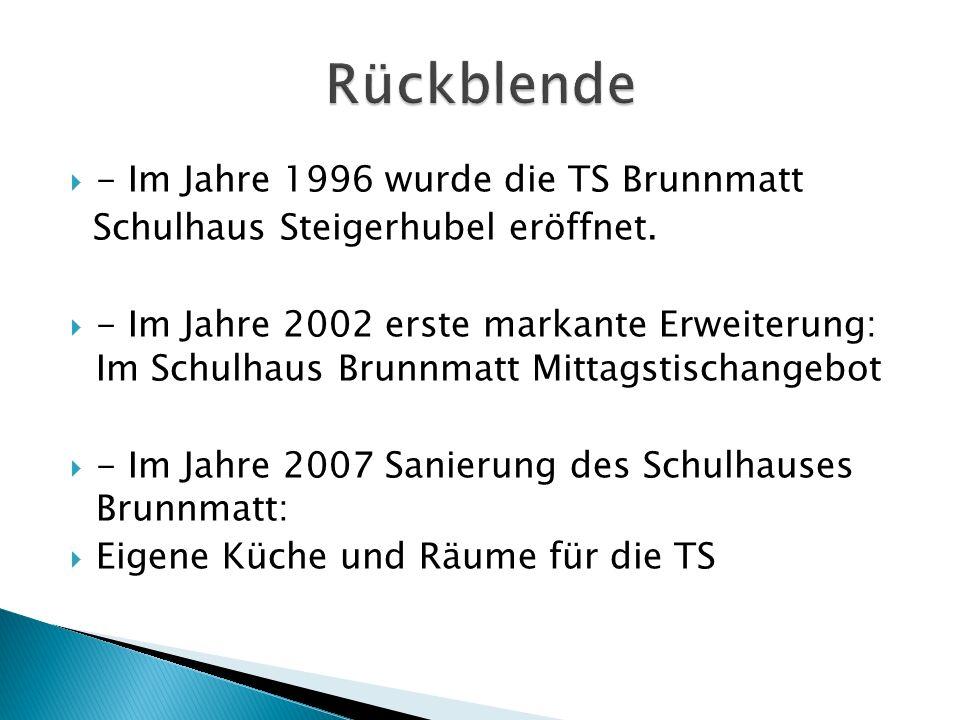  - Im Jahre 1996 wurde die TS Brunnmatt Schulhaus Steigerhubel eröffnet.  - Im Jahre 2002 erste markante Erweiterung: Im Schulhaus Brunnmatt Mittags