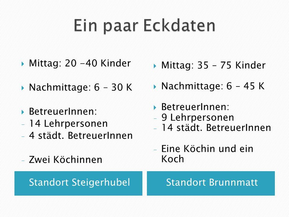 Standort SteigerhubelStandort Brunnmatt  Mittag: 20 -40 Kinder  Nachmittage: 6 – 30 K  BetreuerInnen: - 14 Lehrpersonen - 4 städt. BetreuerInnen -