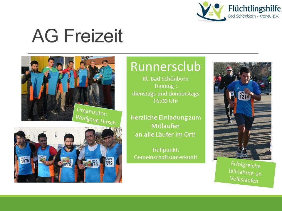 Runnersclub RC Bad Schönborn Training : dienstags und donnerstags 16:00 Uhr Herzliche Einladung zum Mitlaufen an alle Läufer im Ort.