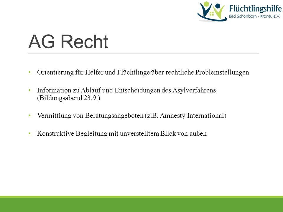 AG Recht Orientierung für Helfer und Flüchtlinge über rechtliche Problemstellungen Information zu Ablauf und Entscheidungen des Asylverfahrens (Bildungsabend 23.9.) Vermittlung von Beratungsangeboten (z.B.