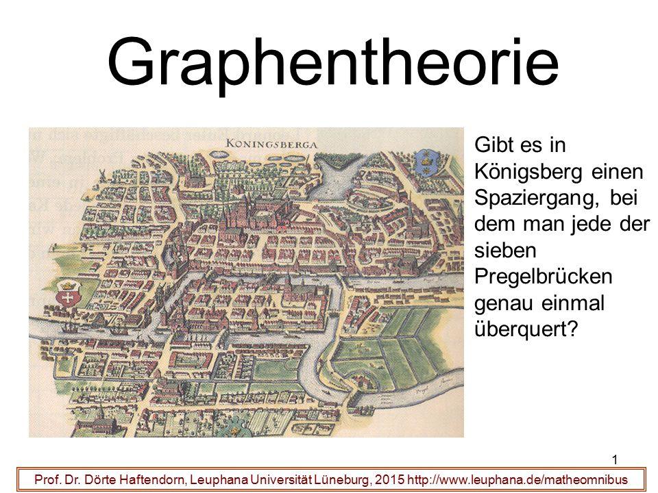 1 Graphentheorie Prof. Dr. Dörte Haftendorn, Leuphana Universität Lüneburg, 2015 http://www.leuphana.de/matheomnibus Gibt es in Königsberg einen Spazi