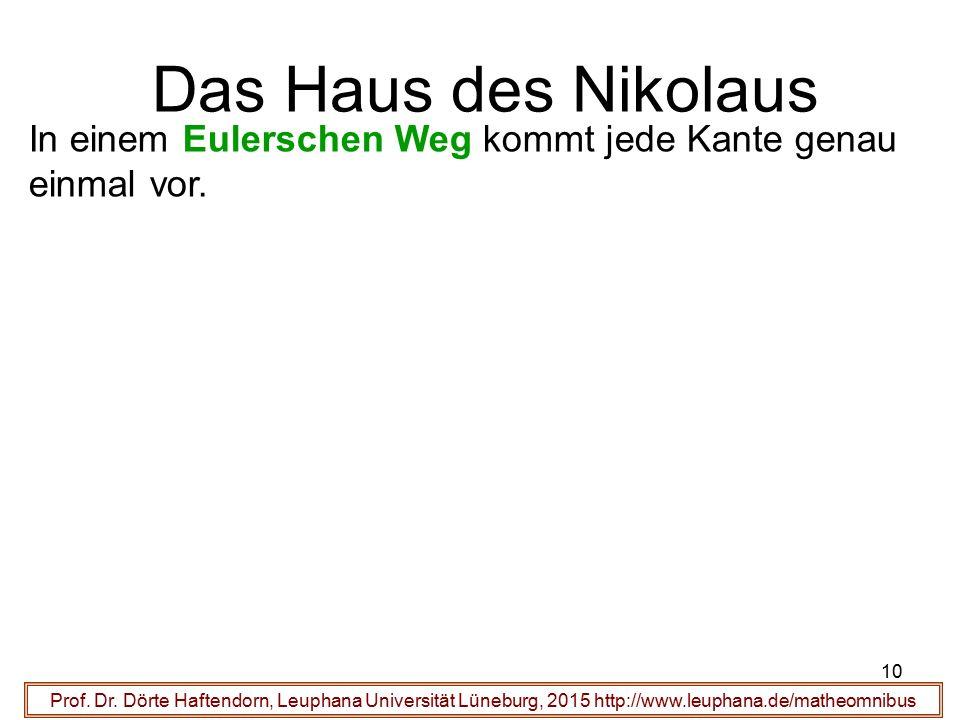 10 Das Haus des Nikolaus Prof. Dr. Dörte Haftendorn, Leuphana Universität Lüneburg, 2015 http://www.leuphana.de/matheomnibus In einem Eulerschen Weg k