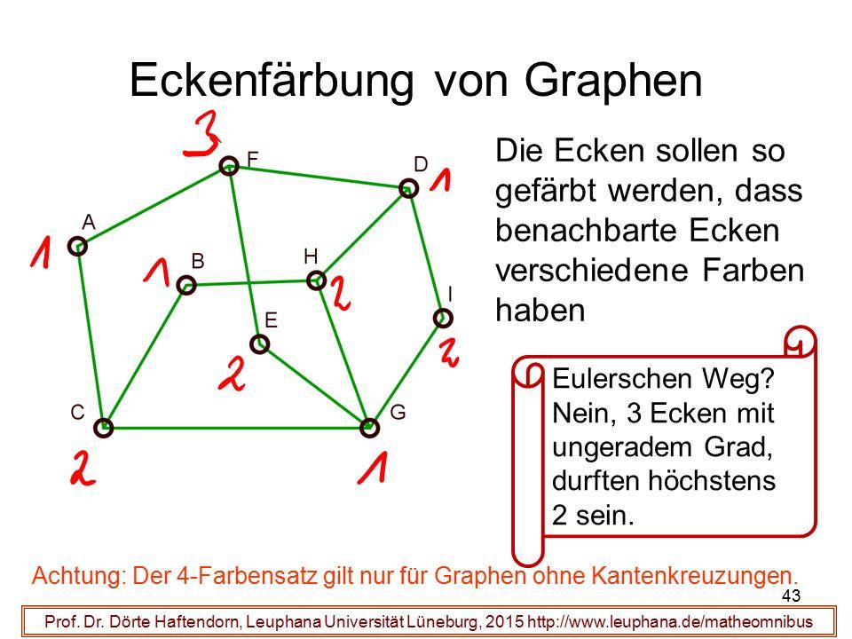 43 Eckenfärbung von Graphen Prof. Dr. Dörte Haftendorn, Leuphana Universität Lüneburg, 2015 http://www.leuphana.de/matheomnibus Die Ecken sollen so ge