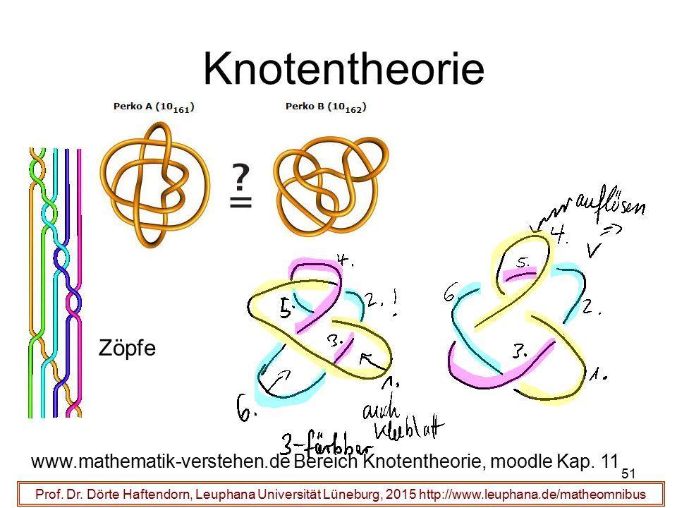 51 Knotentheorie Prof. Dr. Dörte Haftendorn, Leuphana Universität Lüneburg, 2015 http://www.leuphana.de/matheomnibus www.mathematik-verstehen.de Berei