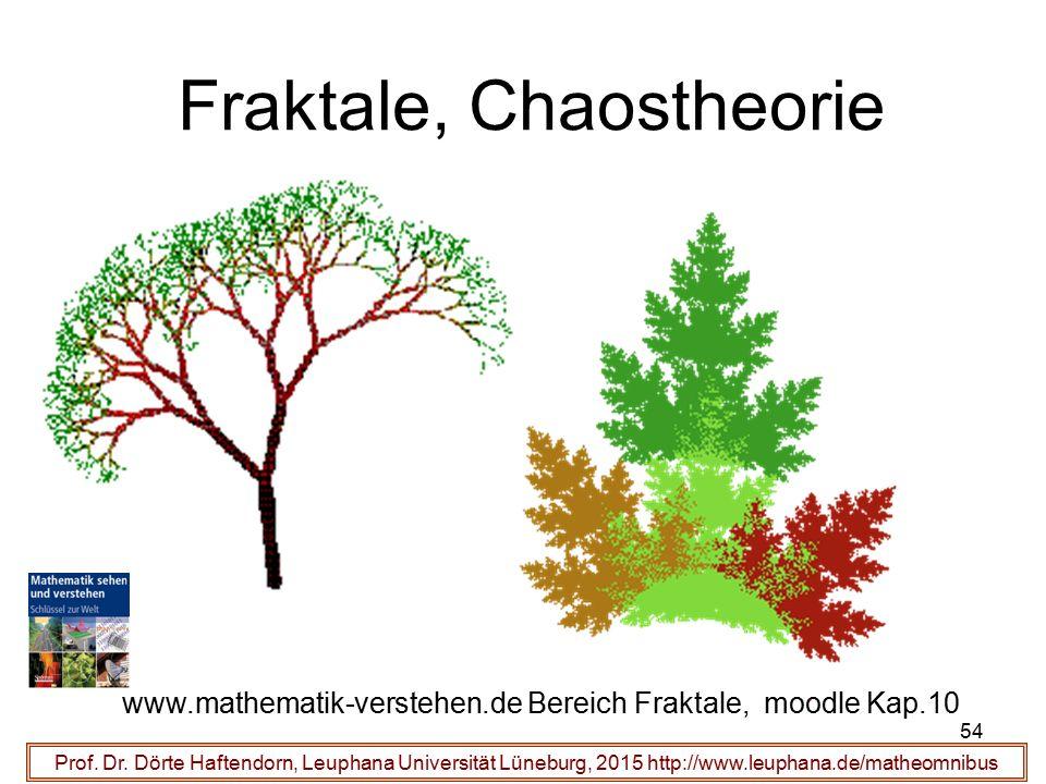 54 Fraktale, Chaostheorie Prof. Dr. Dörte Haftendorn, Leuphana Universität Lüneburg, 2015 http://www.leuphana.de/matheomnibus www.mathematik-verstehen