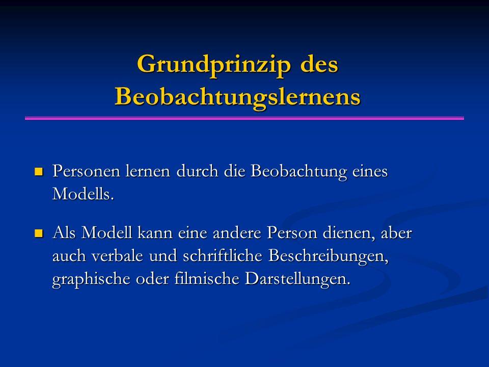 Grundprinzip des Beobachtungslernens Personen lernen durch die Beobachtung eines Modells. Personen lernen durch die Beobachtung eines Modells. Als Mod