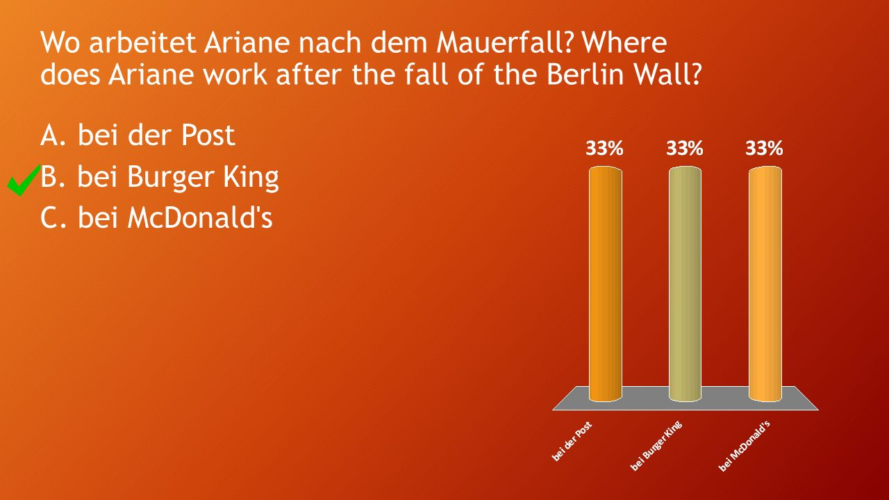 Wo arbeitet Ariane nach dem Mauerfall? Where does Ariane work after the fall of the Berlin Wall? A. bei der Post B. bei Burger King C. bei McDonald's