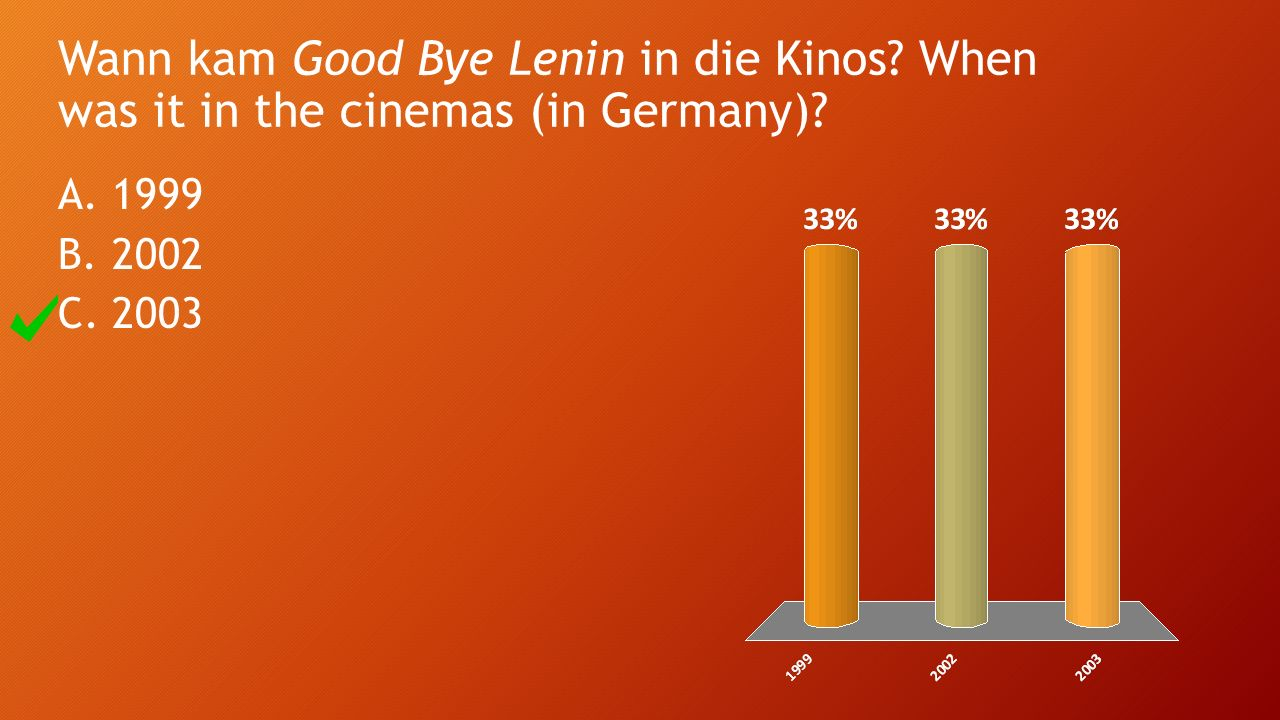 Wann kam Good Bye Lenin in die Kinos When was it in the cinemas (in Germany) A.1999 B.2002 C.2003