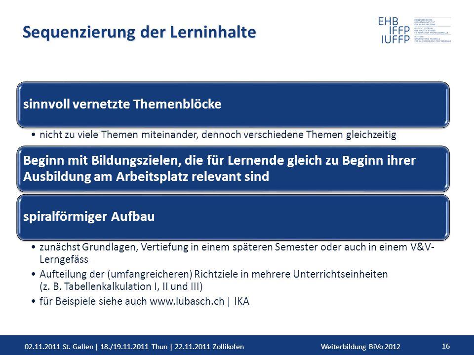 02.11.2011 St. Gallen | 18./19.11.2011 Thun | 22.11.2011 ZollikofenWeiterbildung BiVo 2012 16 Sequenzierung der Lerninhalte sinnvoll vernetzte Themenb