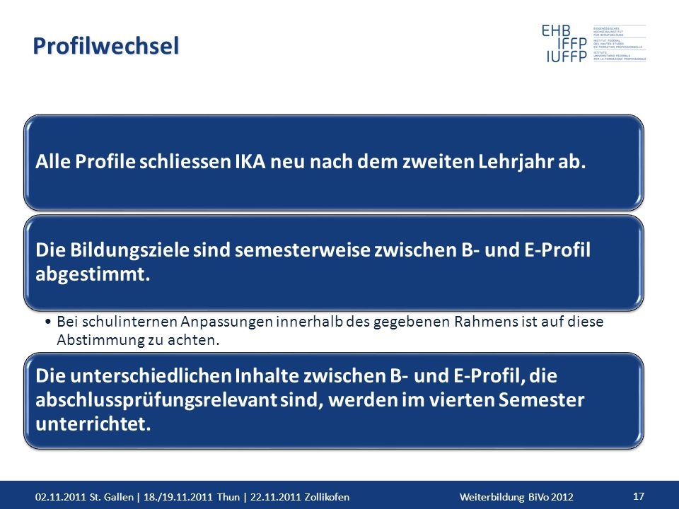 02.11.2011 St. Gallen | 18./19.11.2011 Thun | 22.11.2011 ZollikofenWeiterbildung BiVo 2012 17 Profilwechsel Alle Profile schliessen IKA neu nach dem z