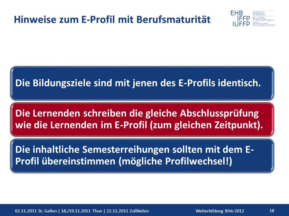 02.11.2011 St. Gallen | 18./19.11.2011 Thun | 22.11.2011 ZollikofenWeiterbildung BiVo 2012 18 Hinweise zum E-Profil mit Berufsmaturität Die Bildungszi