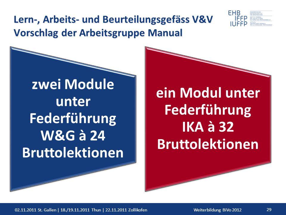 02.11.2011 St. Gallen | 18./19.11.2011 Thun | 22.11.2011 ZollikofenWeiterbildung BiVo 2012 29 Lern-, Arbeits- und Beurteilungsgefäss V&V Vorschlag der